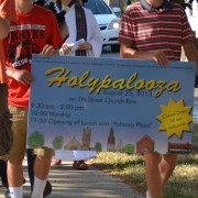 Carrying the Holypalooza banner