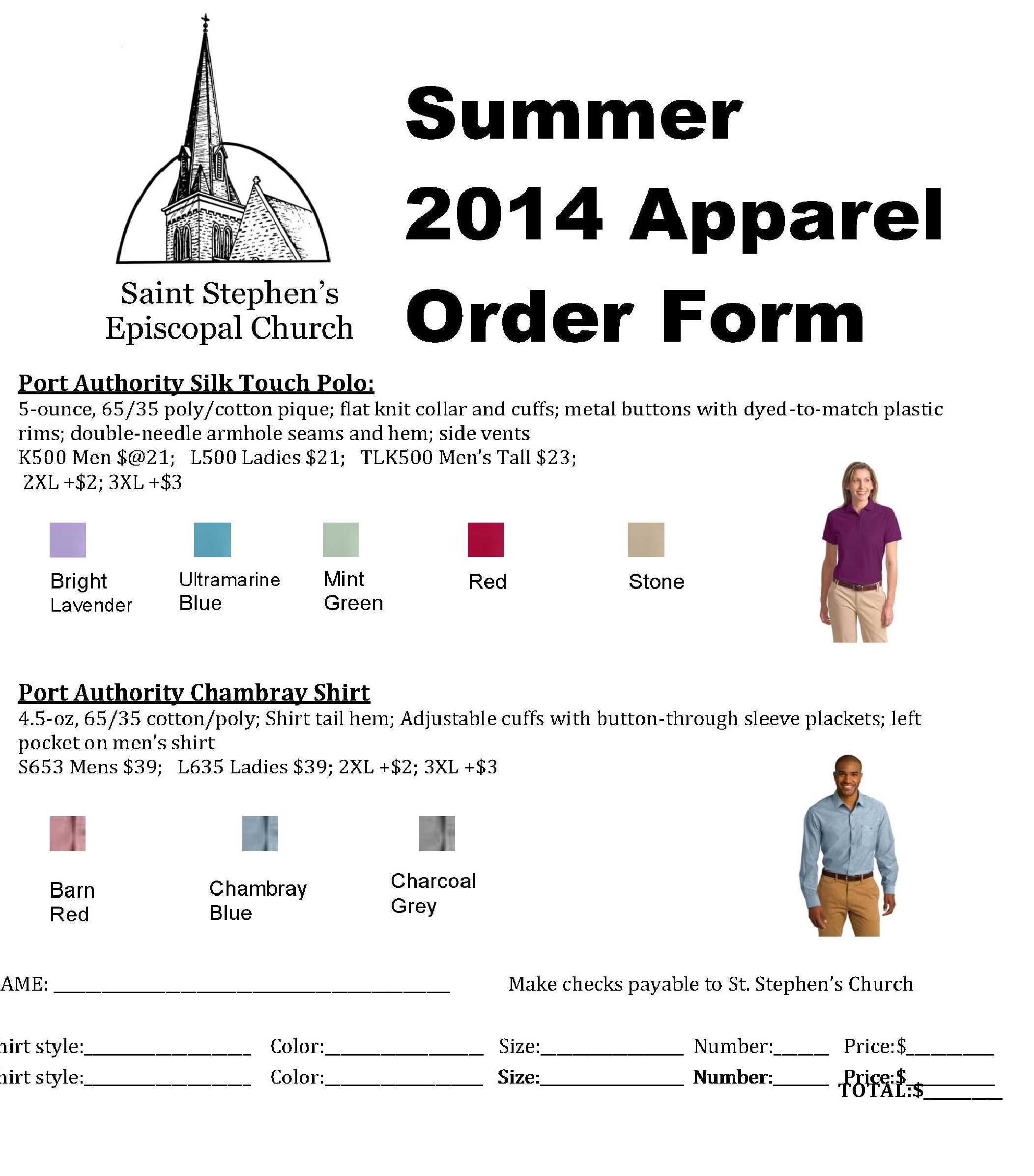 2014 apparel order st stephen's